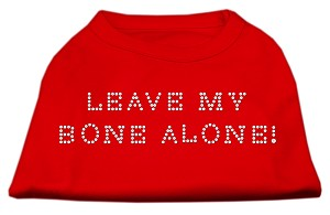 Leave My Bone Alone! Rhinestone Shirts Red L (14)