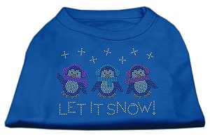 Let It Snow Penguins Rhinestone Shirt Blue Lg (14)