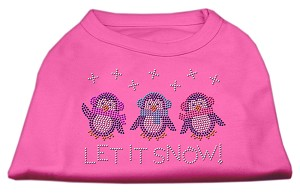 Let It Snow Penguins Rhinestone Shirt Bright Pink S (10)