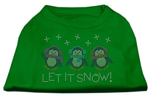 Let It Snow Penguins Rhinestone Shirt Emerald Green Sm (10)