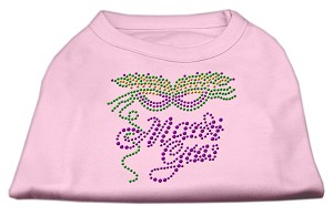 Mardi Gras Rhinestud Shirt Light Pink L