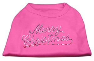 Merry Christmas Rhinestone Shirt Bright Pink XS