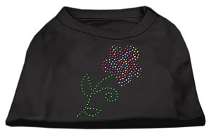 Multi-Colored Flower Rhinestone Shirt Black S