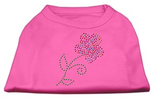 Multi-Colored Flower Rhinestone Shirt Bright Pink XXXL(20)