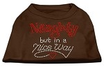 Naughty But Nice Rhinestone Shirts Brown Lg