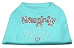 Naughty But Nice Rhinestone Shirts Aqua XS
