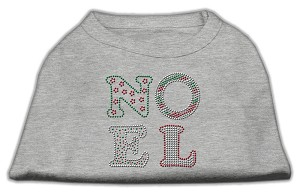 Noel Rhinestone Dog Shirt Grey Lg (14)