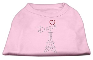 Paris Rhinestone Shirts Light Pink XXXL