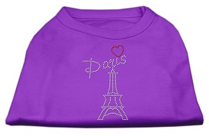 Paris Rhinestone Shirts Purple XL