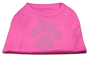 Clear Rhinestone Paw Shirts Bright Pink S