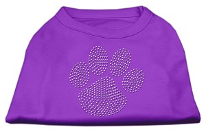 Clear Rhinestone Paw Shirts Purple XXL (18)
