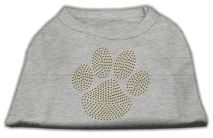 Gold Paw Rhinestud Shirt Grey L