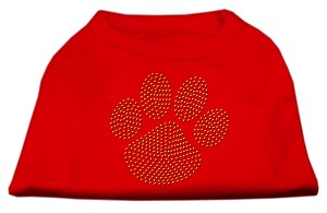 Gold Paw Rhinestud Shirt Red XS
