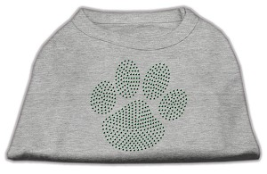 Green Paw Rhinestud Shirts Grey XL