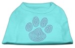 Purple Paw Rhinestud Shirts Aqua XL