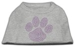 Purple Paw Rhinestud Shirts Grey XS