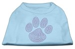 Purple Paw Rhinestud Shirts Baby Blue XS