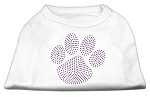 Purple Paw Rhinestud Shirts White XS