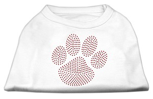 Red Paw Rhinestud Shirts White XS (8)