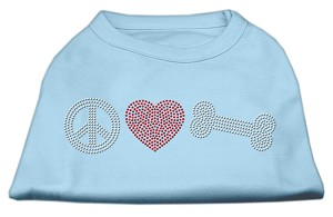 Peace Love and Bone Rhinestone Shirt Baby Blue XS (8)
