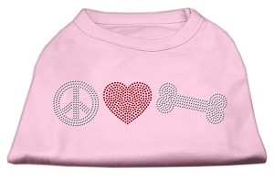 Peace Love and Bone Rhinestone Shirt Light Pink XL (16)
