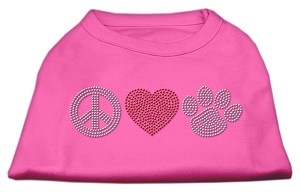 Peace Love and Paw Rhinestone Shirt Bright Pink L (14)
