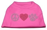 Peace Love and Paw Rhinestone Shirt Bright Pink S