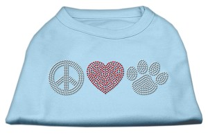 Peace Love and Paw Rhinestone Shirt Baby Blue XXXL(20)