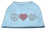 Peace Love and Paw Rhinestone Shirt Baby Blue XS