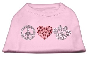 Peace Love and Paw Rhinestone Shirt Light Pink XS
