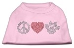 Peace Love and Paw Rhinestone Shirt Light Pink S