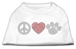 Peace Love and Paw Rhinestone Shirt White L