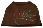 Rainbow Pride Rhinestone Shirts Brown XS
