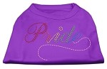 Rainbow Pride Rhinestone Shirts Purple XS