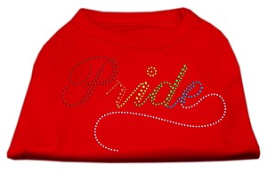 Rainbow Pride Rhinestone Shirts Red XS