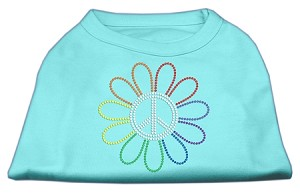 Rhinestone Rainbow Flower Peace Sign Shirts Aqua XL (16)