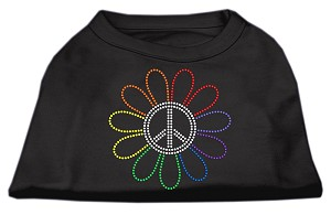 Rhinestone Rainbow Flower Peace Sign Shirts Black S (10)