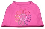 Rhinestone Rainbow Flower Peace Sign Shirts Bright Pink S