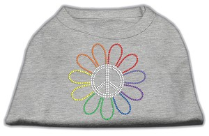 Rhinestone Rainbow Flower Peace Sign Shirts Grey XS