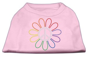 Rhinestone Rainbow Flower Peace Sign Shirts Light Pink XS (8)