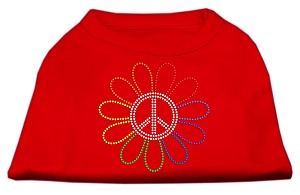 Rhinestone Rainbow Flower Peace Sign Shirts Red L (14)