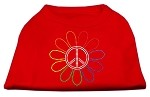 Rhinestone Rainbow Flower Peace Sign Shirts Red S