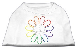 Rhinestone Rainbow Flower Peace Sign Shirts White XXL
