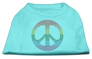 Rhinestone Rainbow Peace Sign Shirts Aqua S