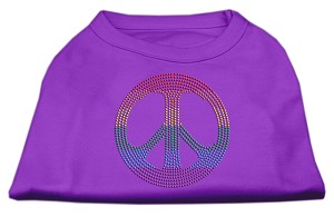 Rhinestone Rainbow Peace Sign Shirts Purple XS