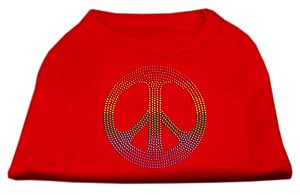 Rhinestone Rainbow Peace Sign Shirts Red M (12)