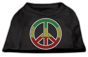 Rasta Peace Sign Shirts Black M