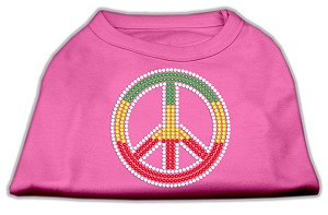 Rasta Peace Sign Shirts Bright Pink S (10)