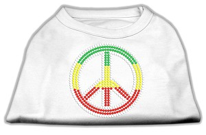 Rasta Peace Sign Shirts White M