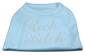 Rich Bitch Rhinestone Shirts Baby Blue S